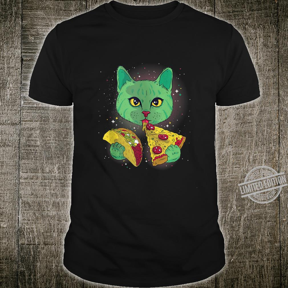 Alien Cat Eat Pizza Taco Space Cats Kittys Shirt