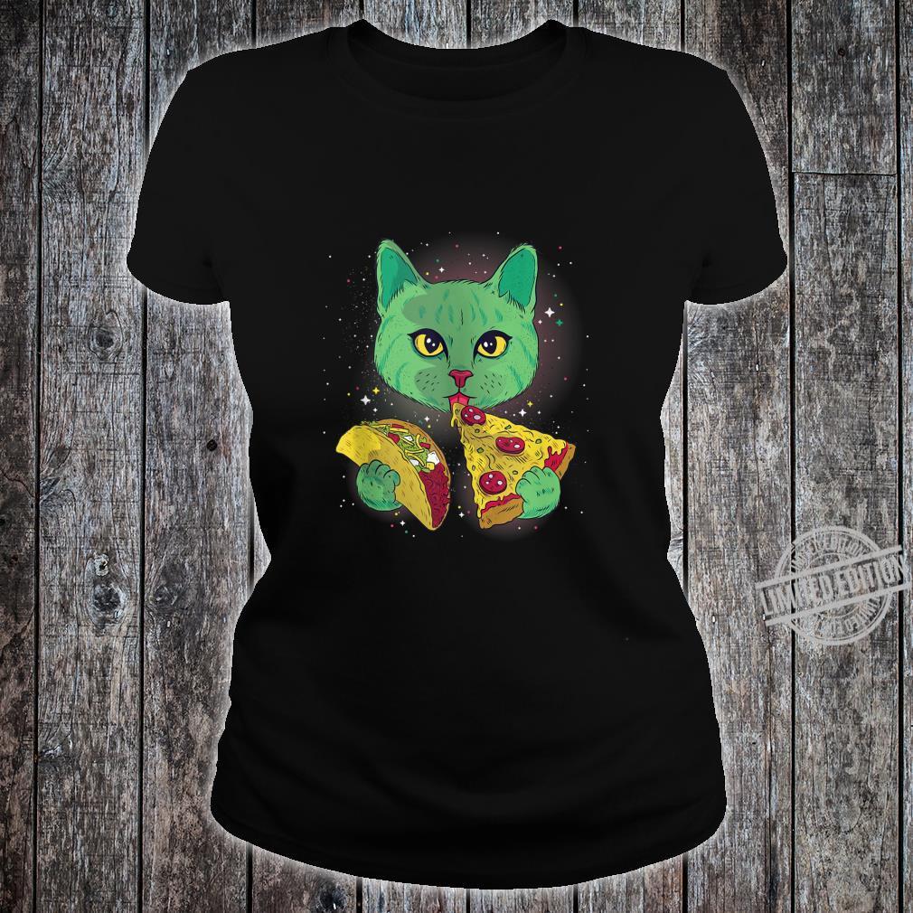 Alien Cat Eat Pizza Taco Space Cats Kittys Shirt ladies tee