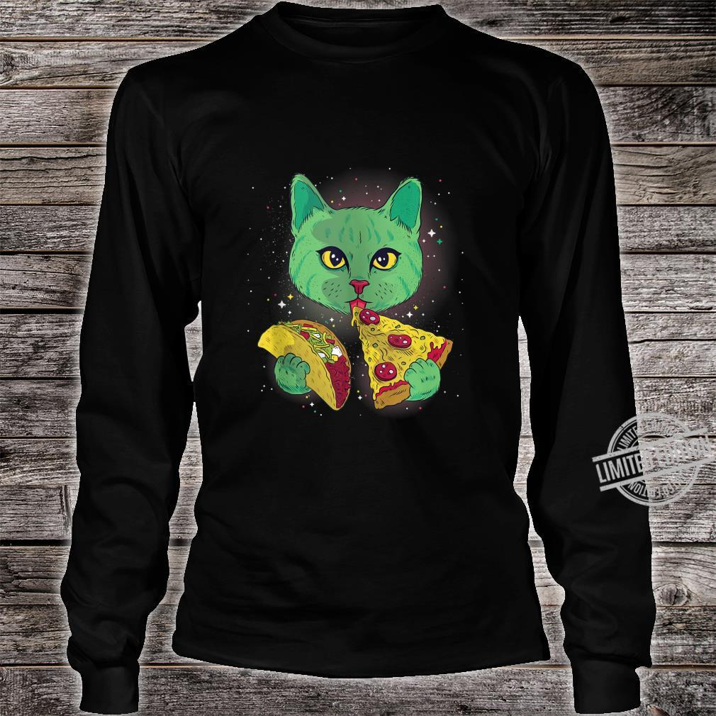 Alien Cat Eat Pizza Taco Space Cats Kittys Shirt long sleeved