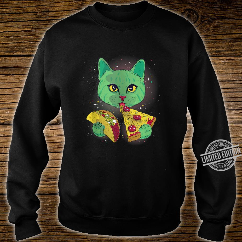Alien Cat Eat Pizza Taco Space Cats Kittys Shirt sweater