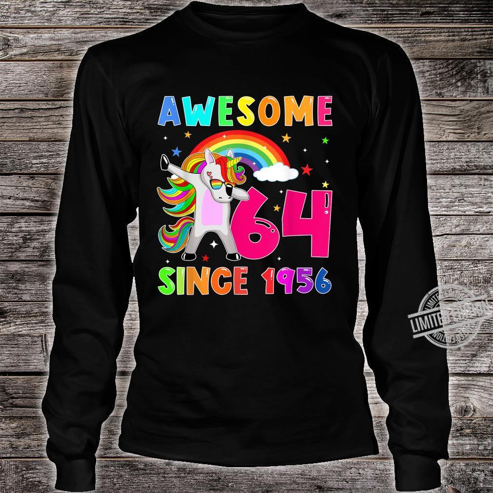Awesome Since 1956 Dabbing Unicorn 64th Birthday Shirt long sleeved