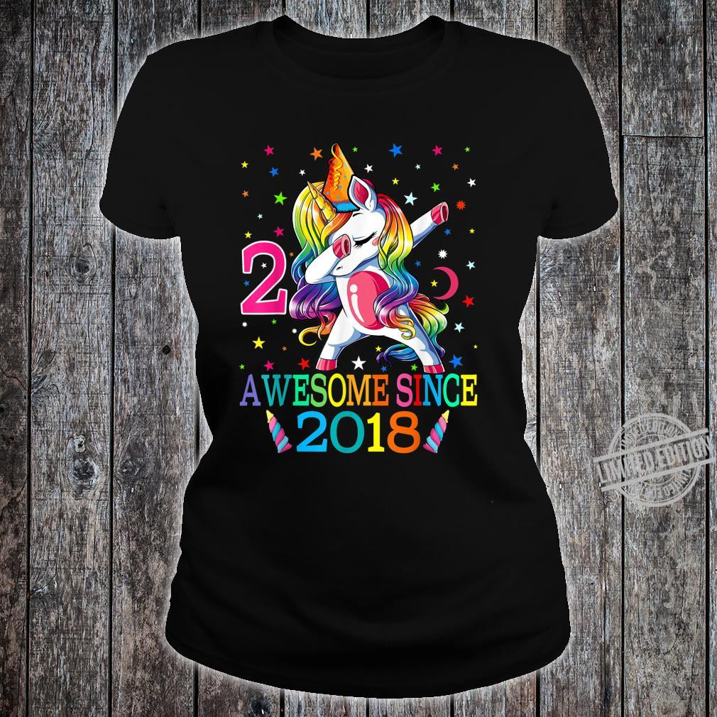 Awesome Since 2018 Dabbing Unicorn 2nd Birthday Girls Shirt ladies tee