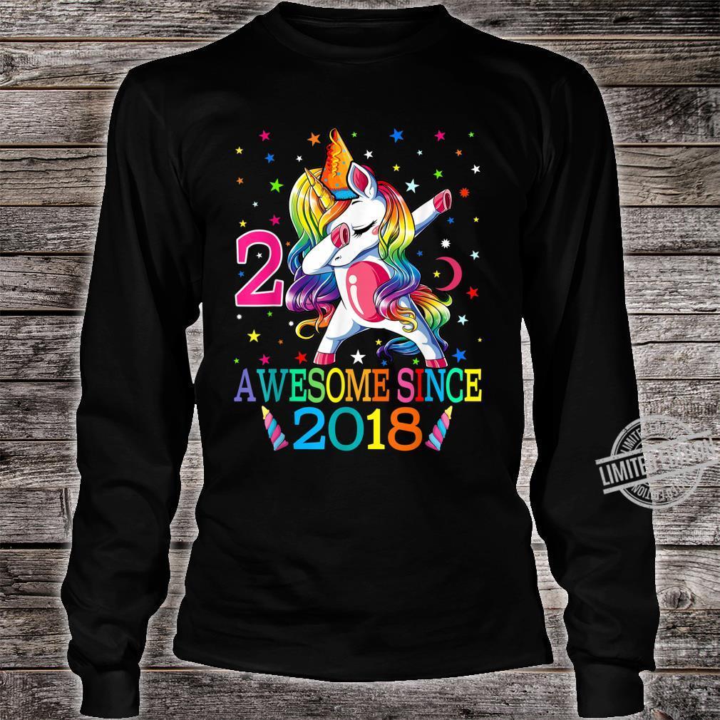 Awesome Since 2018 Dabbing Unicorn 2nd Birthday Girls Shirt long sleeved