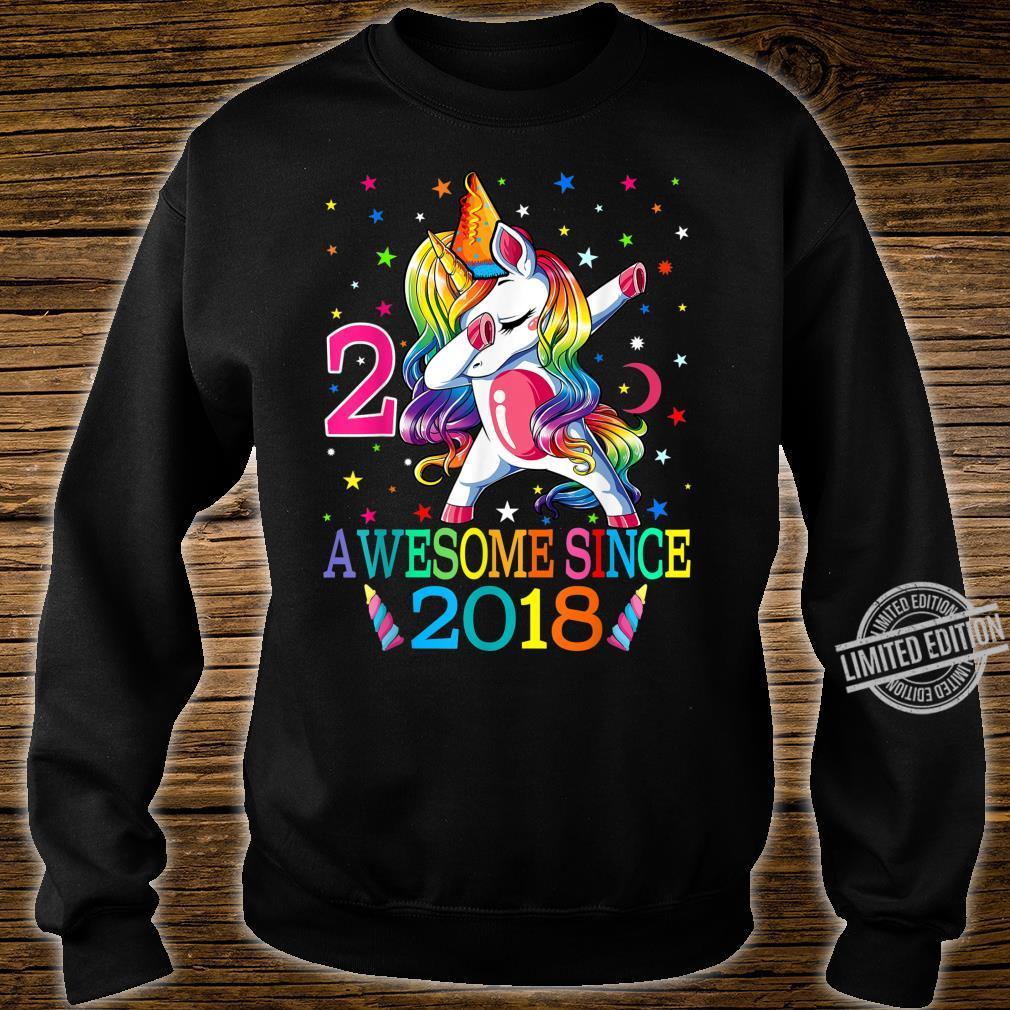 Awesome Since 2018 Dabbing Unicorn 2nd Birthday Girls Shirt sweater
