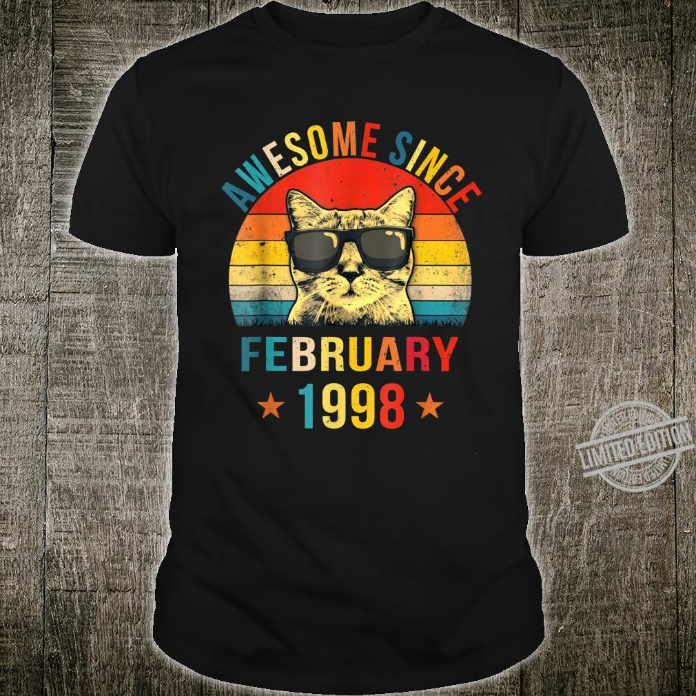 Awesome Since February 1998 22nd Birthday Cat Shirt