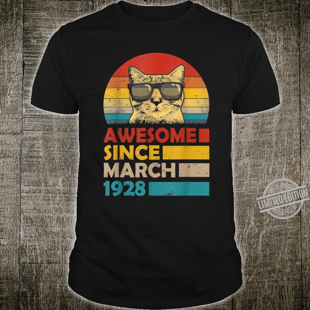 Awesome Since March 1928 92nd Birthday Cat Shirt