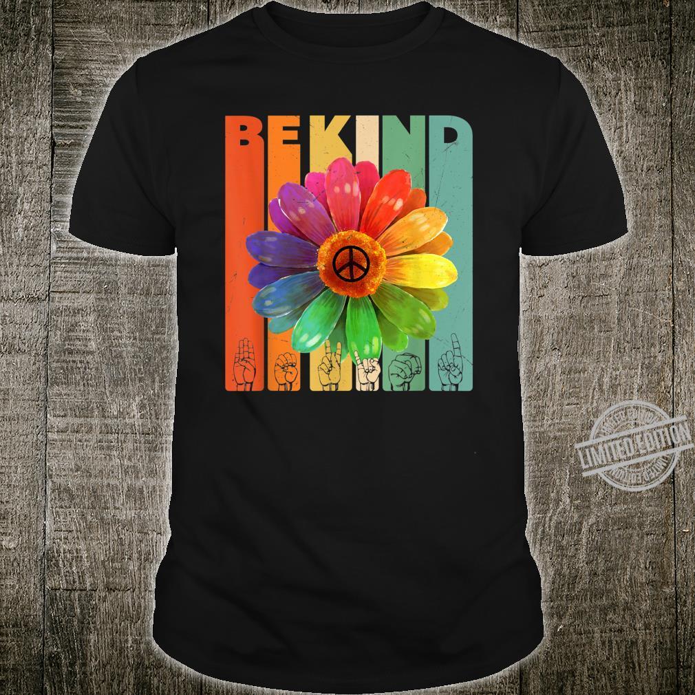 Be Kind Daisy Peace Sign Rainbow Vintage Retro Kindness Shirt