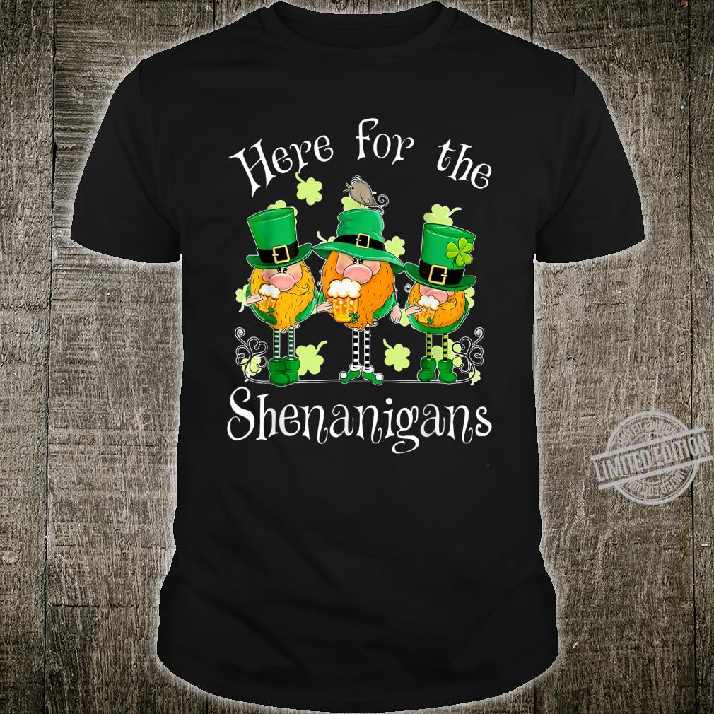 Beer Gnome Shamrock Here For The Shenanigans Patricks Day Shirt