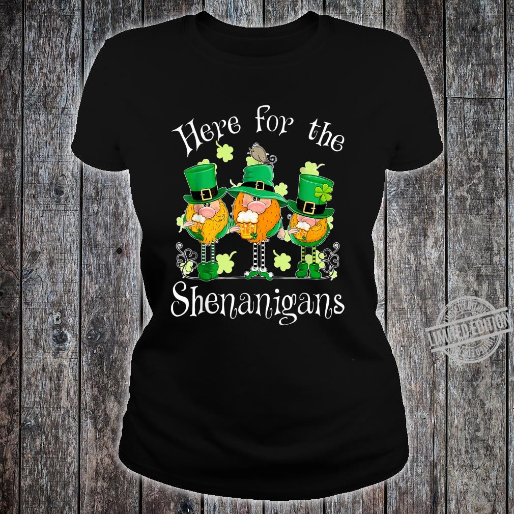 Beer Gnome Shamrock Here For The Shenanigans Patricks Day Shirt ladies tee