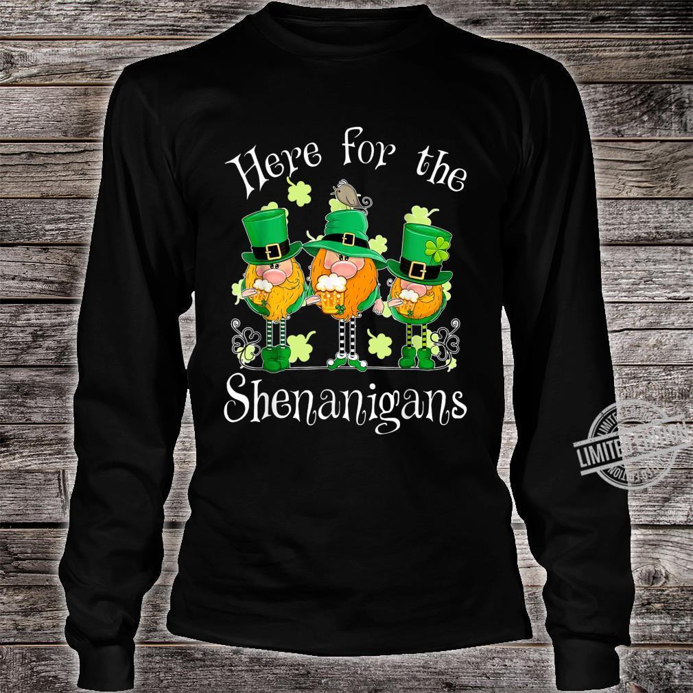 Beer Gnome Shamrock Here For The Shenanigans Patricks Day Shirt long sleeved