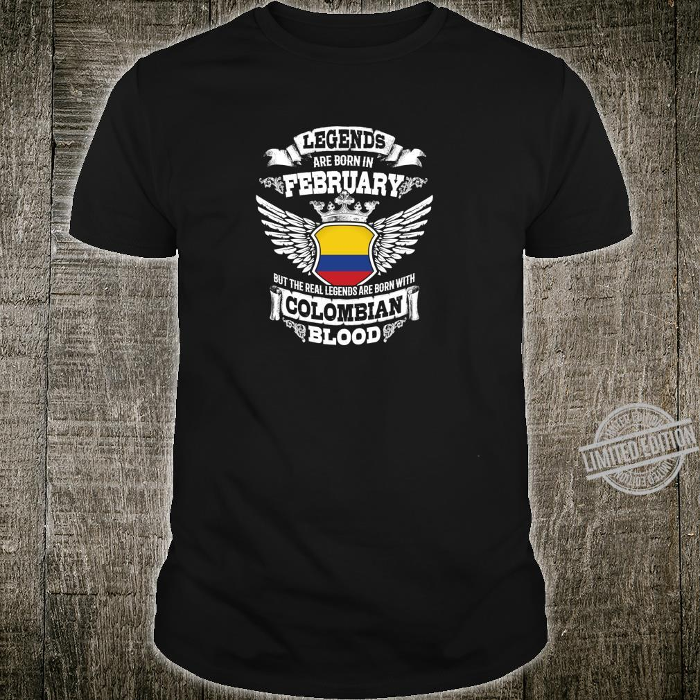 Born in February Colombia Colombia Flag Birthday Shirt