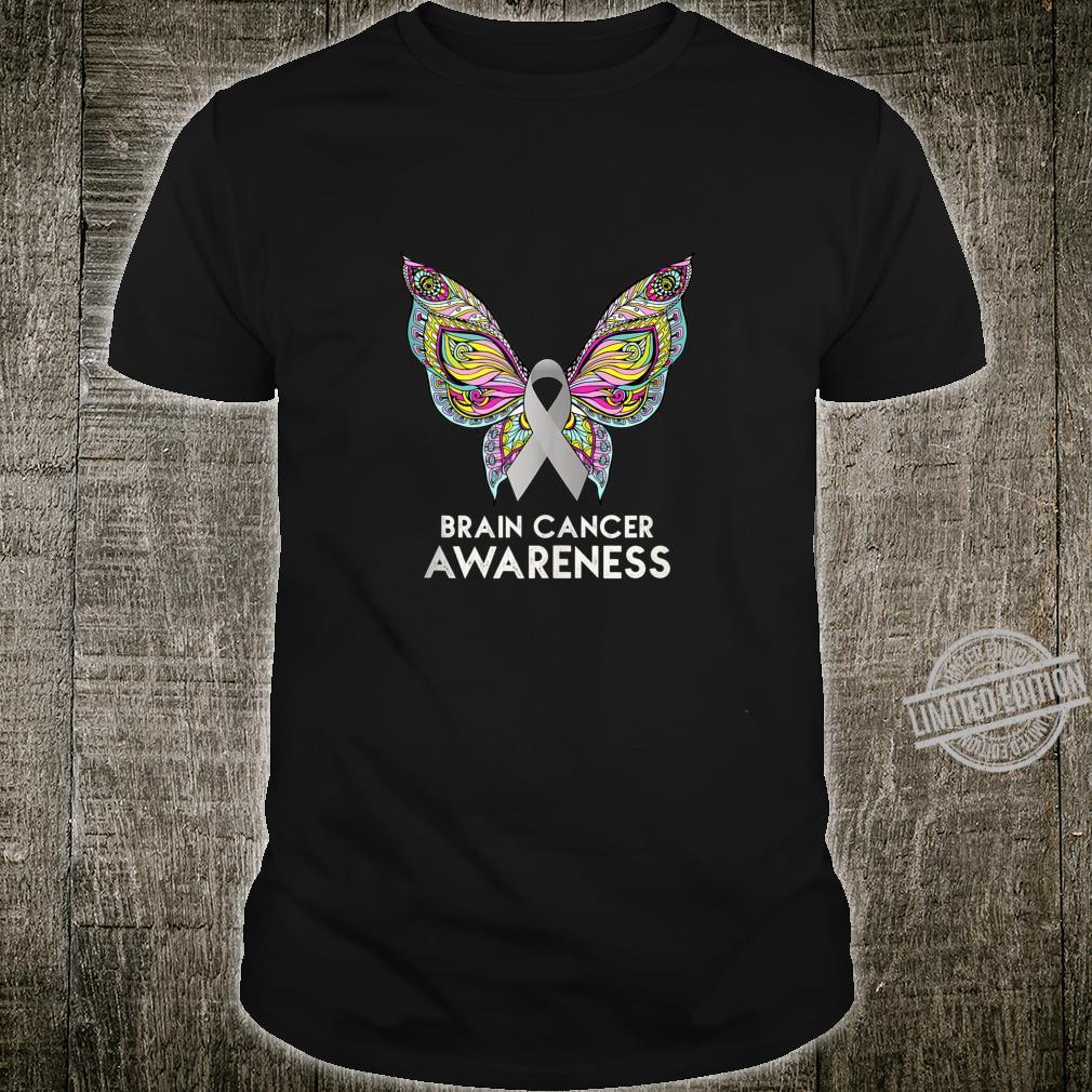 Brain Cancer Awareness Support Butterfly Grey Ribbon Shirt