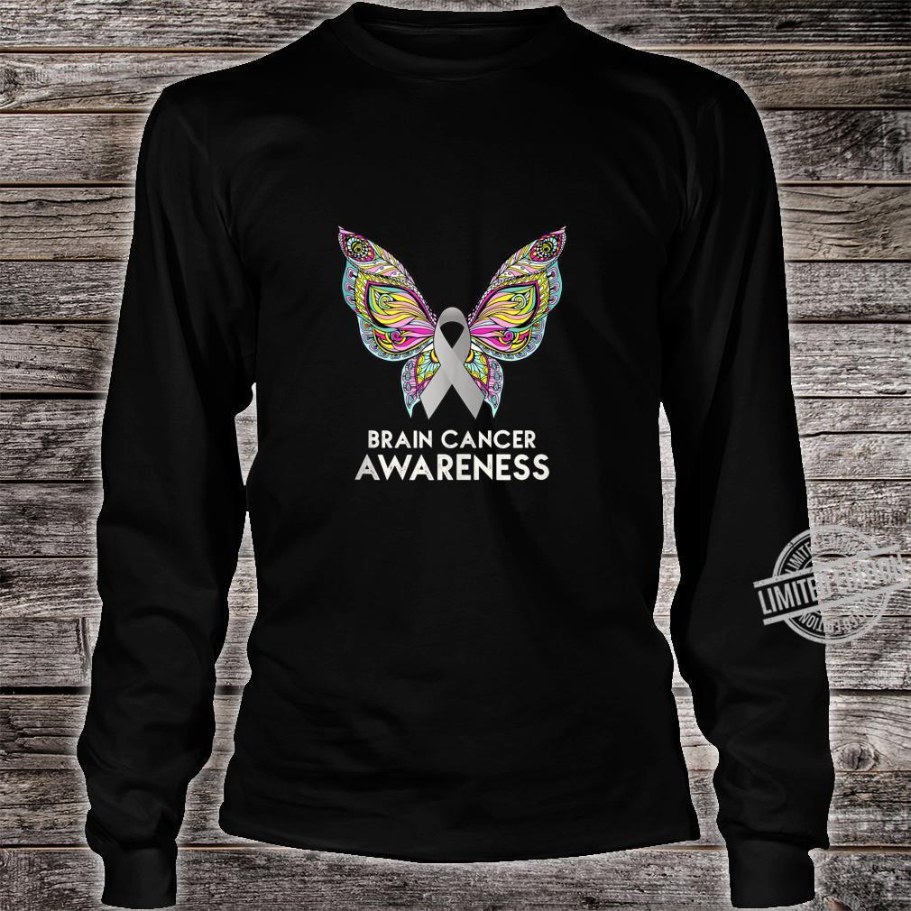 Brain Cancer Awareness Support Butterfly Grey Ribbon Shirt long sleeved