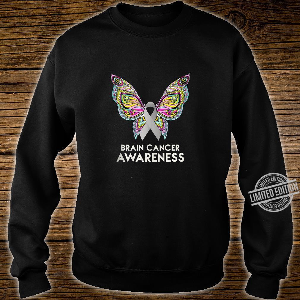 Brain Cancer Awareness Support Butterfly Grey Ribbon Shirt sweater