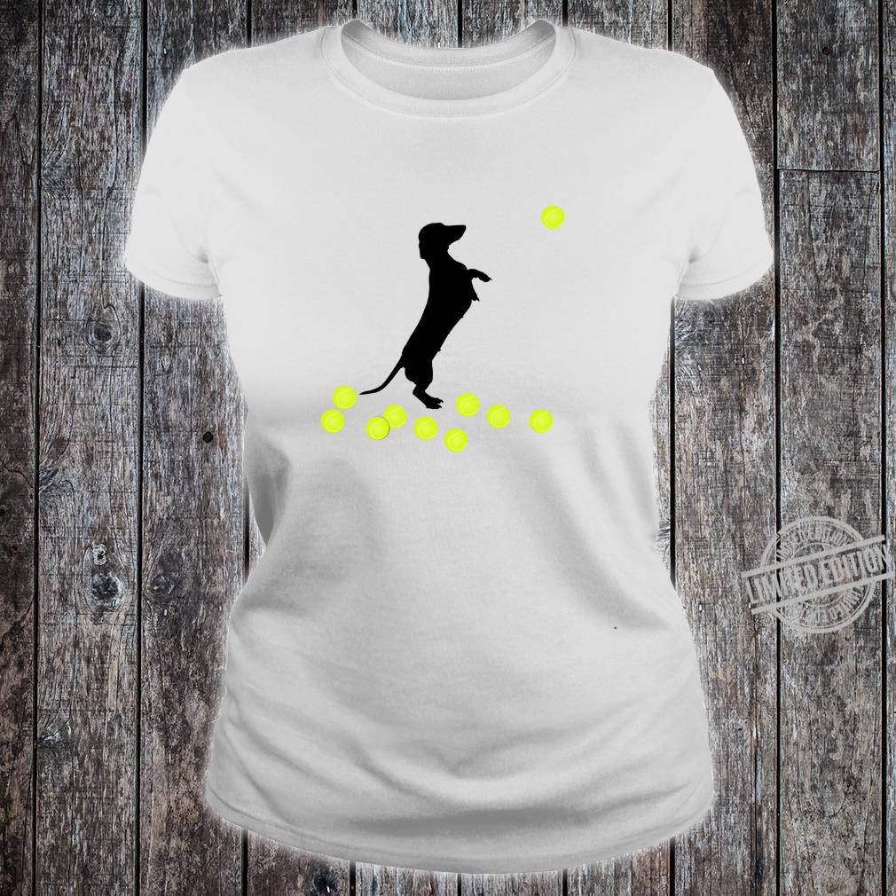 Cute Dachshund Dog Puppy Doxie Playing With Tennis Balls Shirt ladies tee