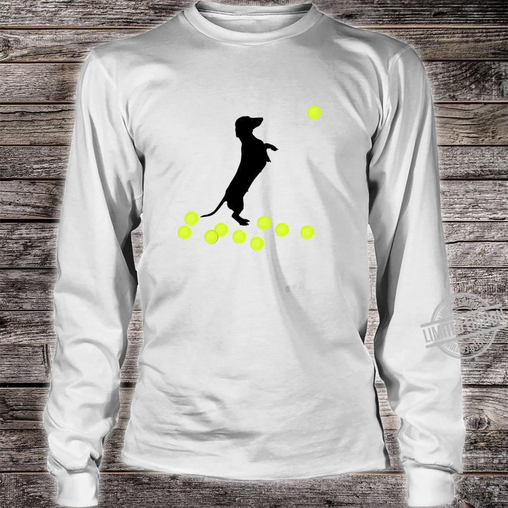 Cute Dachshund Dog Puppy Doxie Playing With Tennis Balls Shirt long sleeved