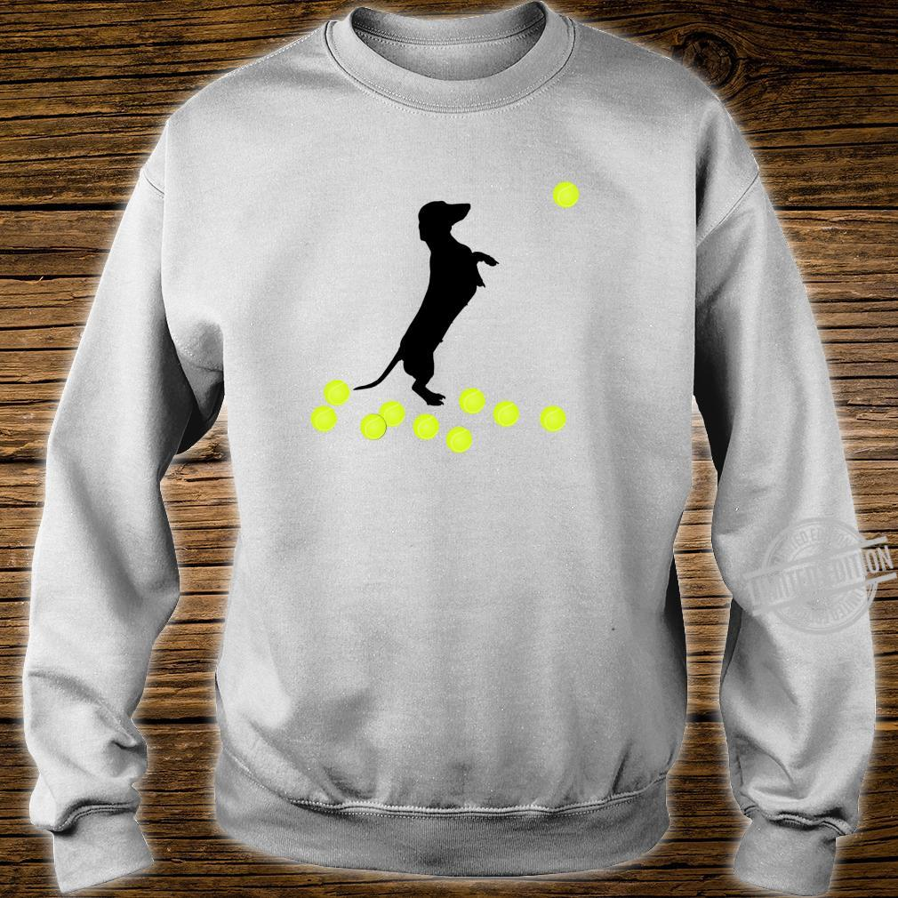 Cute Dachshund Dog Puppy Doxie Playing With Tennis Balls Shirt sweater
