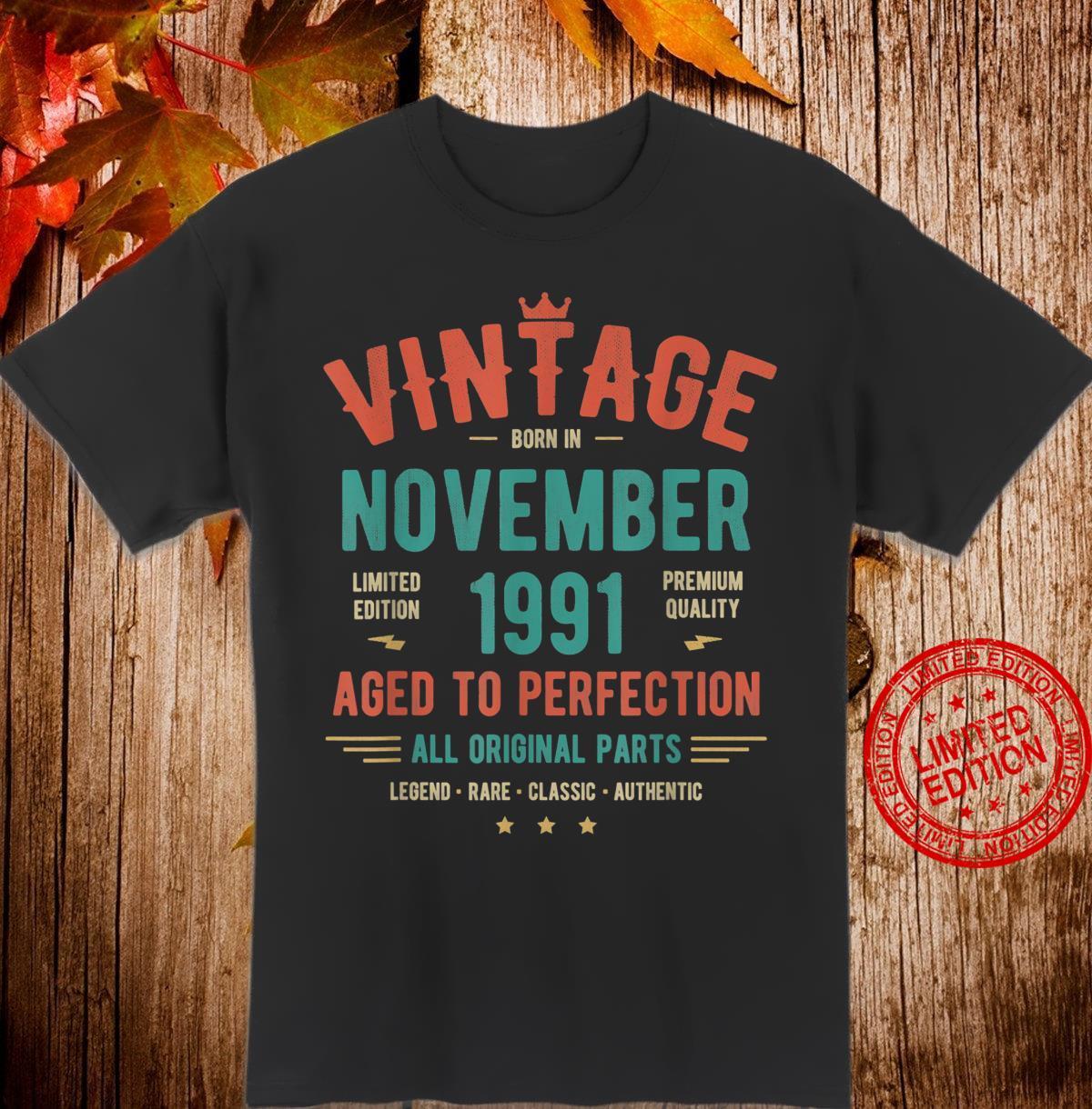 December 1991 Birthday Shirt Retro Vintage 29th Birthday Shirt