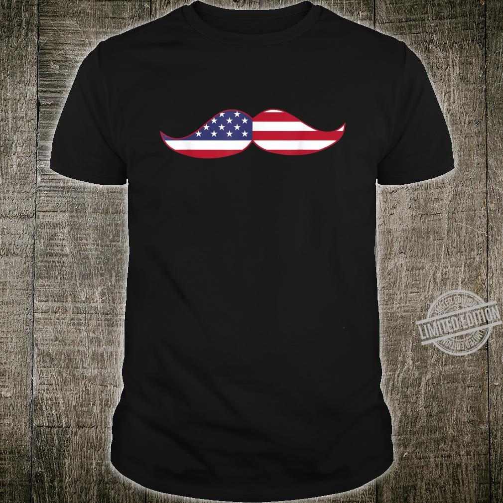 Father's Day Patriotic Mustache USA Flag Shirt
