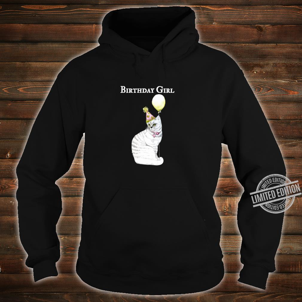 Funny Cat Birthday Girl Hat Balloon Collar White Shirt hoodie