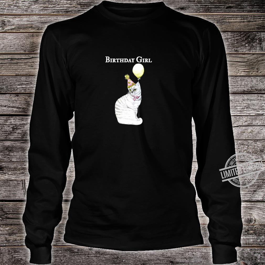 Funny Cat Birthday Girl Hat Balloon Collar White Shirt long sleeved