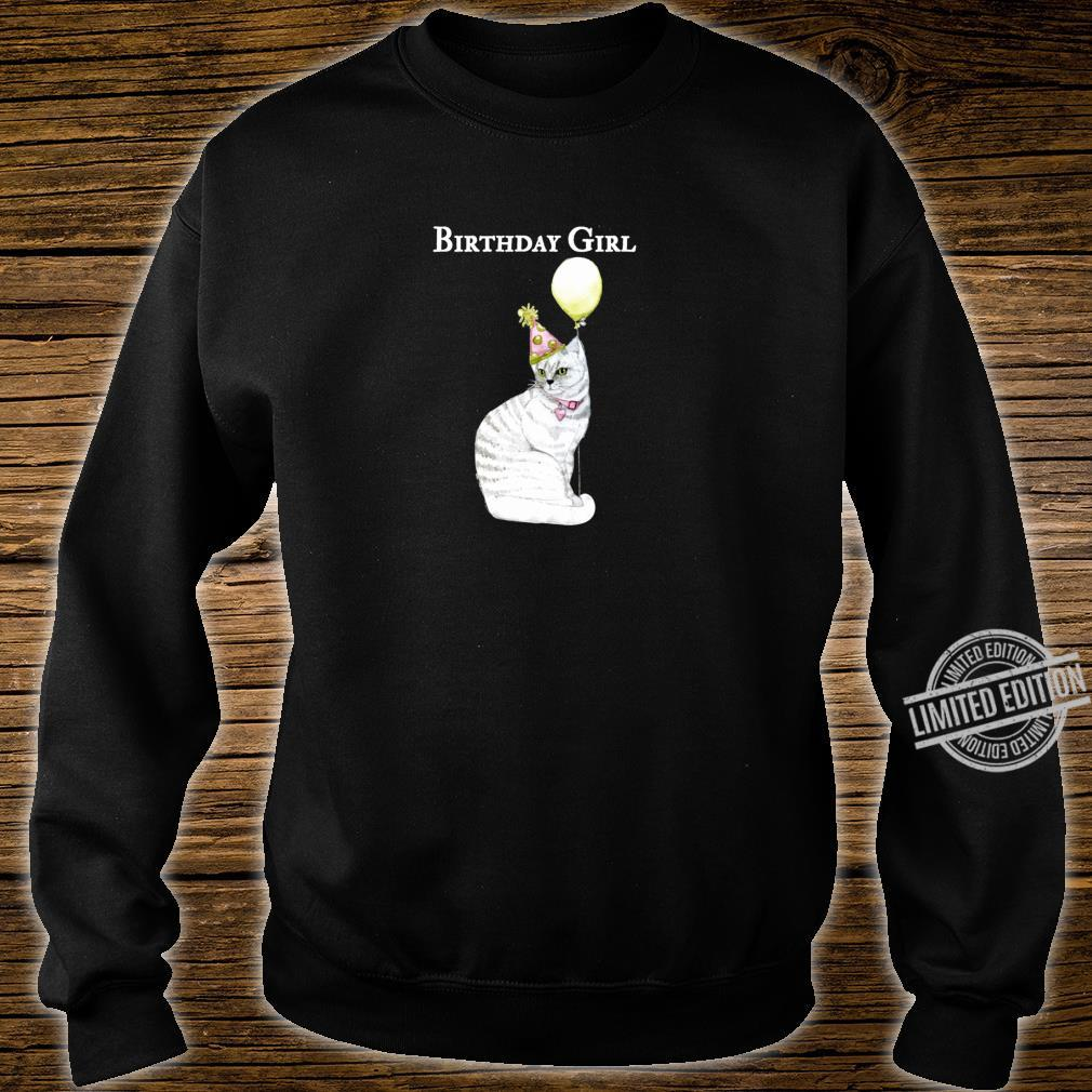 Funny Cat Birthday Girl Hat Balloon Collar White Shirt sweater