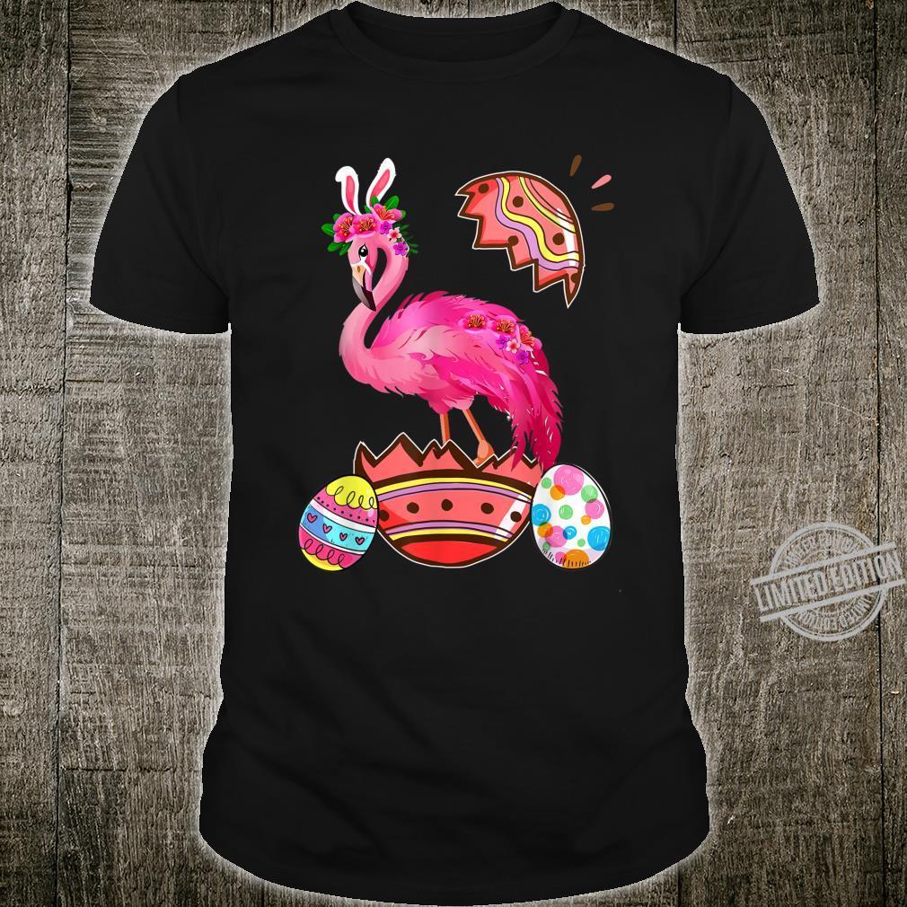 Funny Flamingo Girls Easter Egg Bunny Shirt