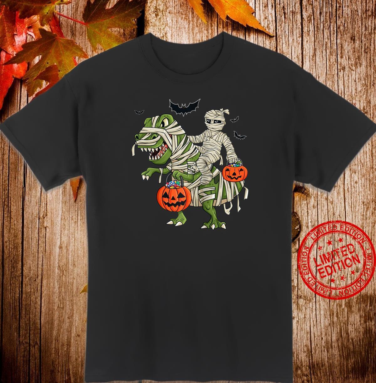 Halloween Mummy Riding T Rex Shirt