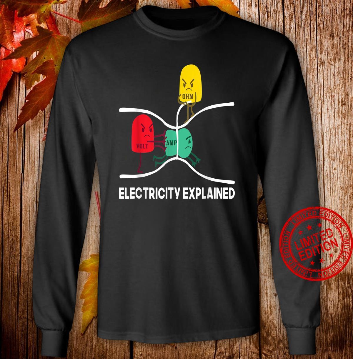 Herren Lustiges Elektriker Geschenk Volt Ohm Elektrizitat Erklart Shirt