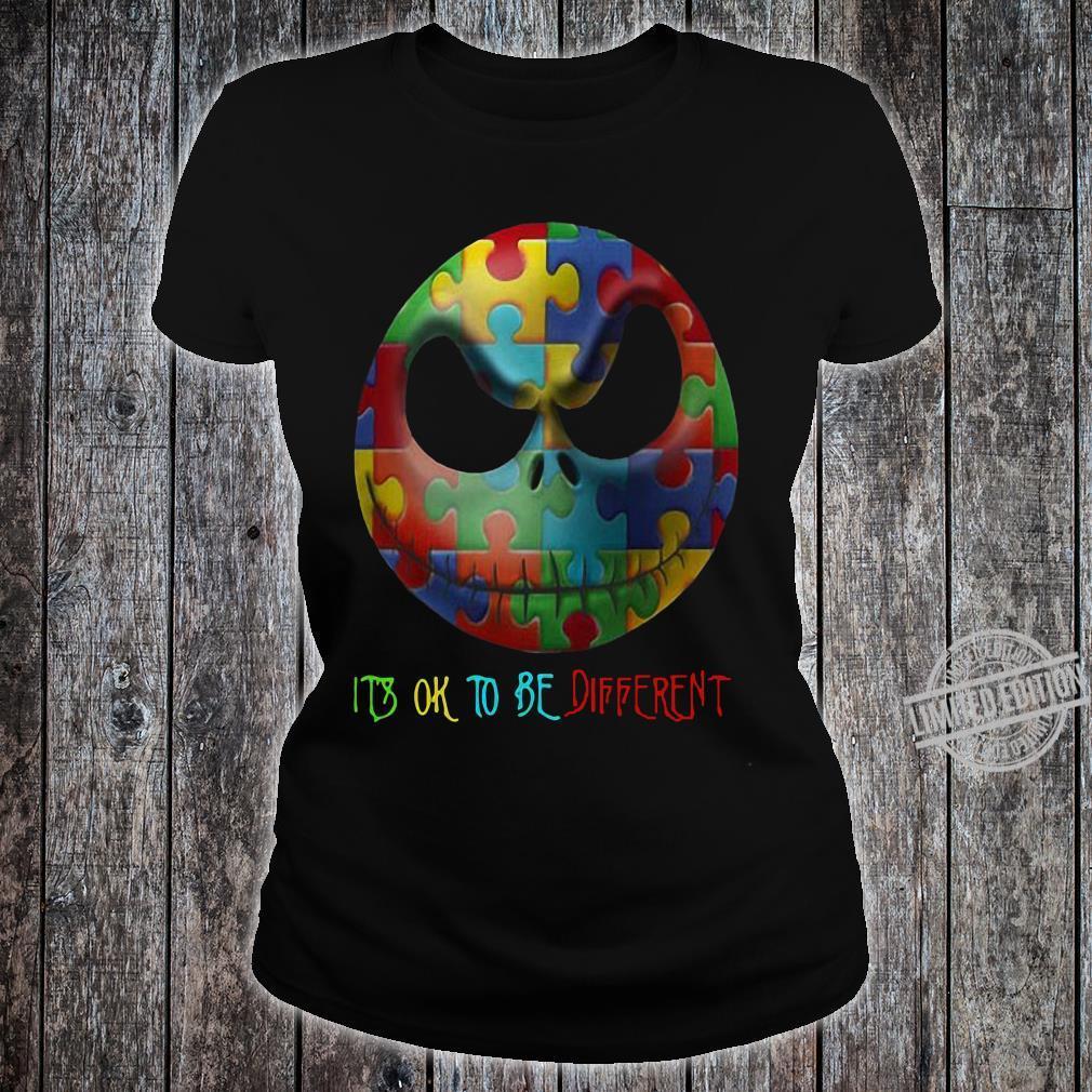 Jack Skellington Face It's Ok To Be Different Men T-Shirt ladies tee