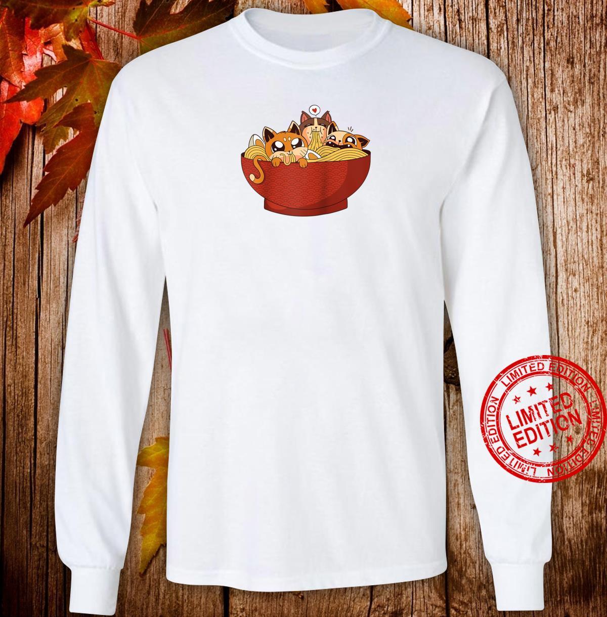 Kawaii cats eating ramen noodles Japanese Anime Aesthetic Shirt long sleeved