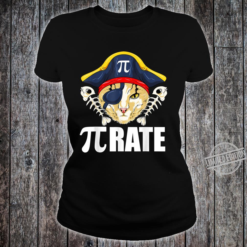 Pi Day Shirt Pirate Cat And Math Shirt ladies tee