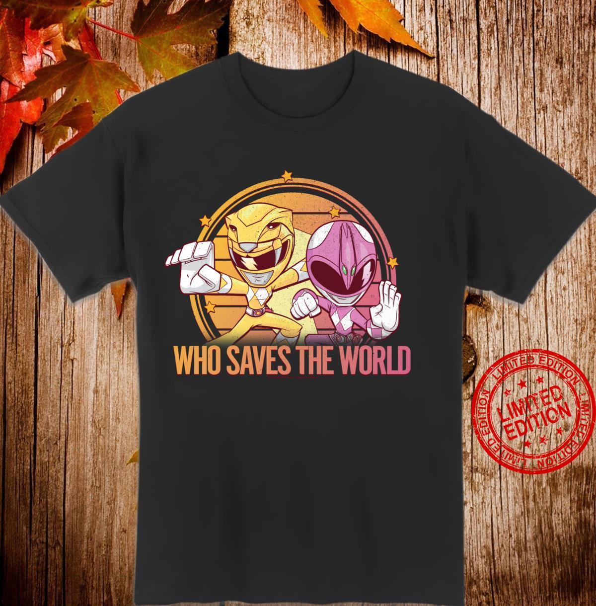 Power Rangers Pink & Yellow Ranger Who Saves The World Langarmshirt Shirt