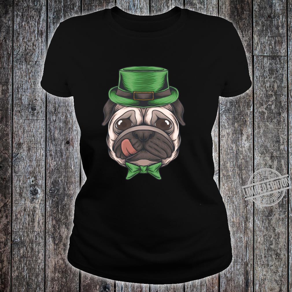 Pug St Patricks Day Boys Leprechaun Pug Dog Shirt ladies tee