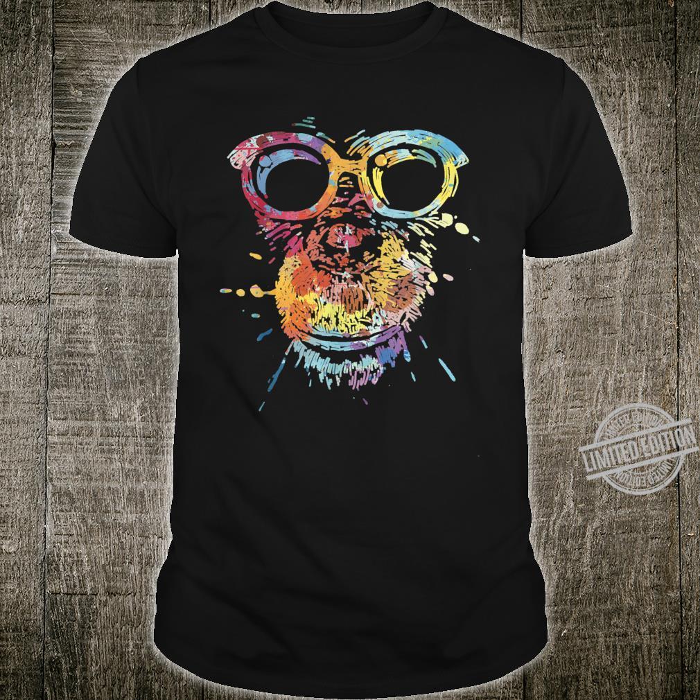 Splash Art Paint Monkey Chimpanzee With Glasses Shirt