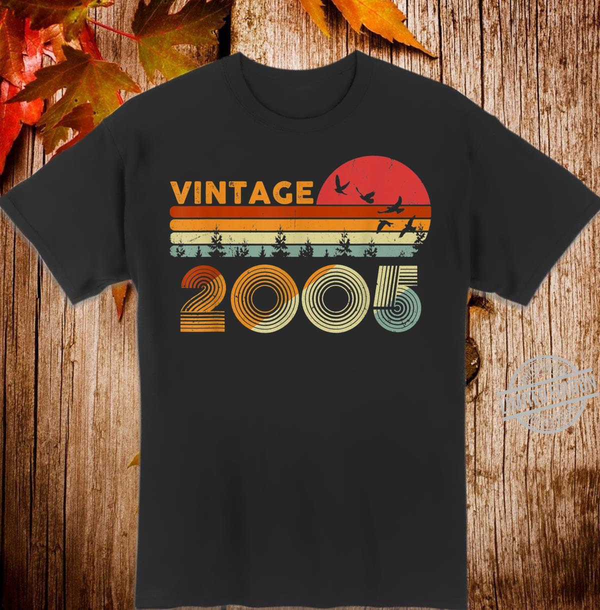 Vintage 15th Birthday 2005 Retro Bday 15 Years Old Shirt