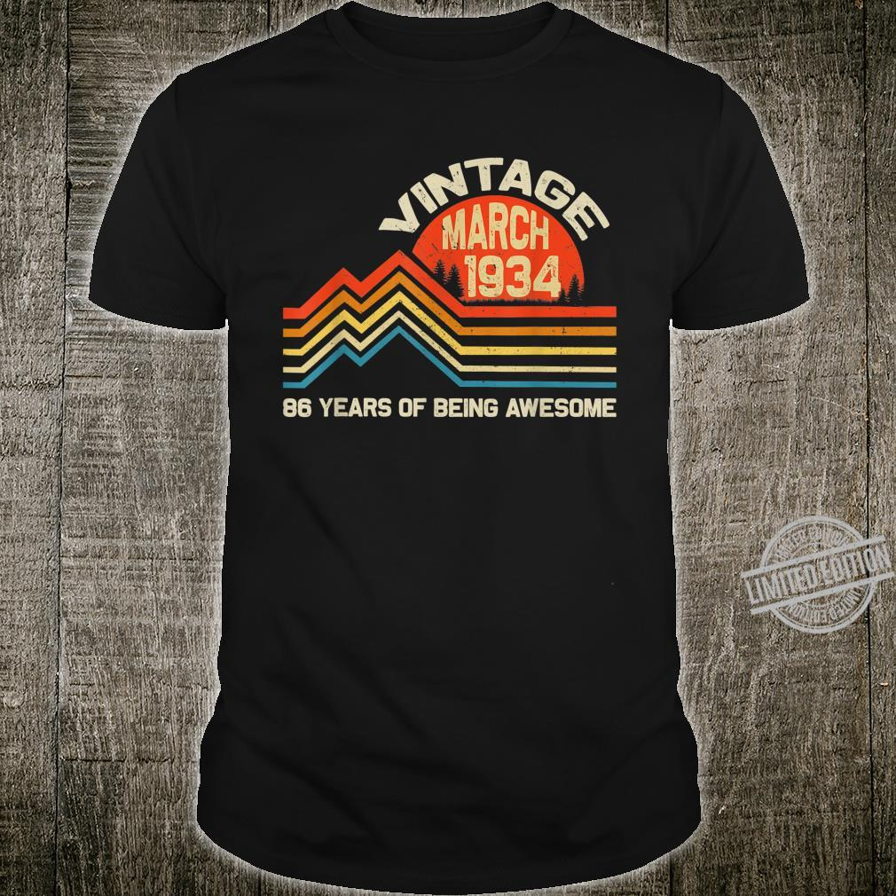 Vintage Retro April 1934 86 Years Old 86th Birthday Shirt