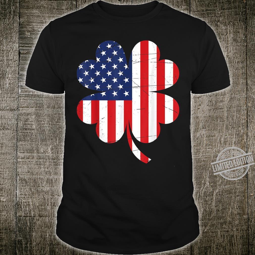 Vintage US Flag Shamrock Irish Flag St Patrick Day Shirt