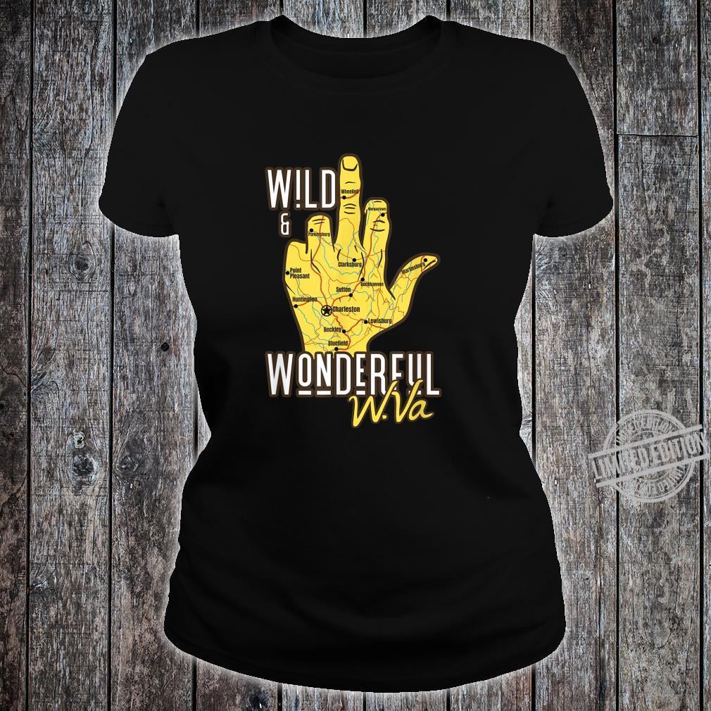 West Virginia Map WV Middle Finger WV Souvenir Shirt ladies tee