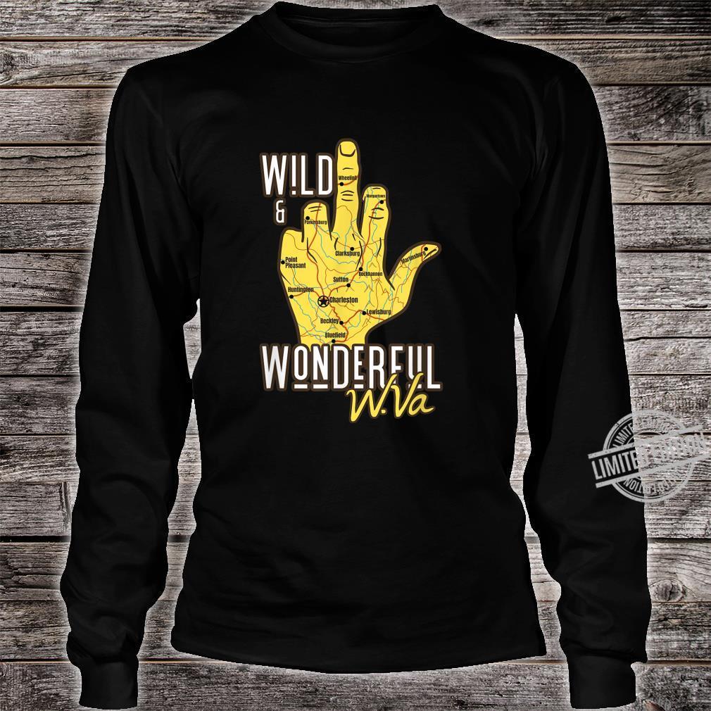 West Virginia Map WV Middle Finger WV Souvenir Shirt long sleeved