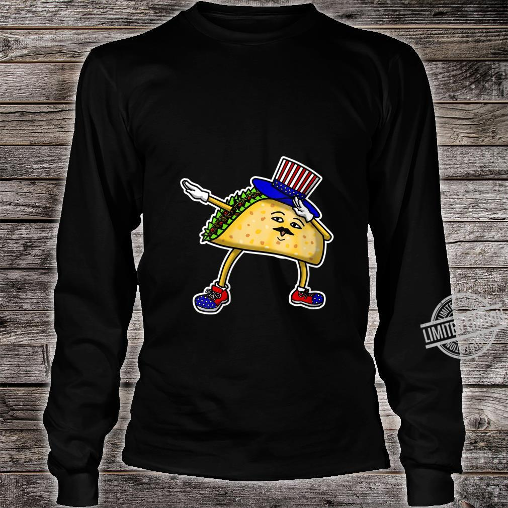 Womens Dabbing USA Independence Day Taco Celebration Gif Shirt long sleeved