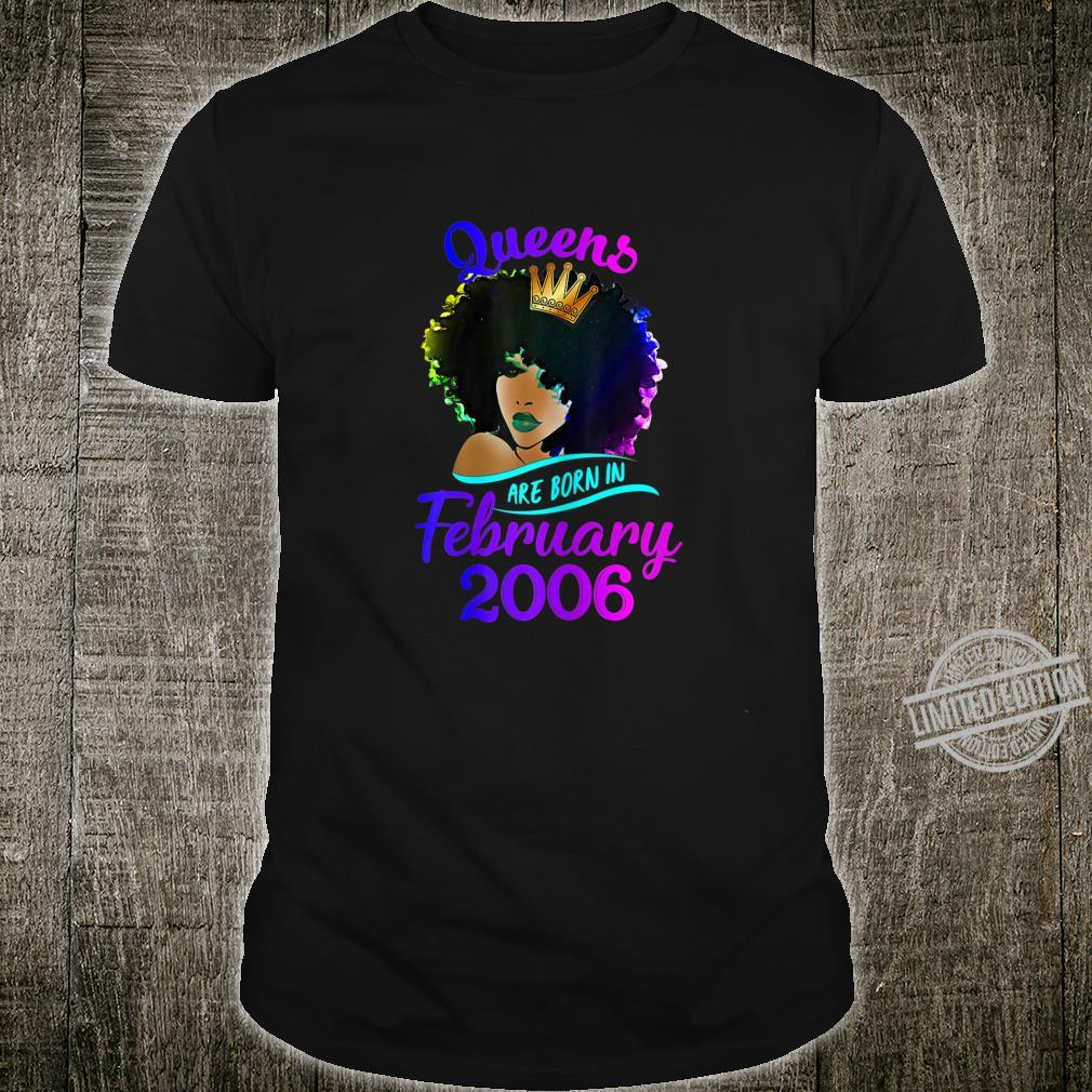 Womens Queens Are Born In February 2006 14th Birthday Shirt