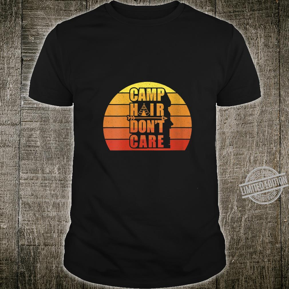Womens Retro Vintage Camp Hair Don't Care Adventure Camping Shirt
