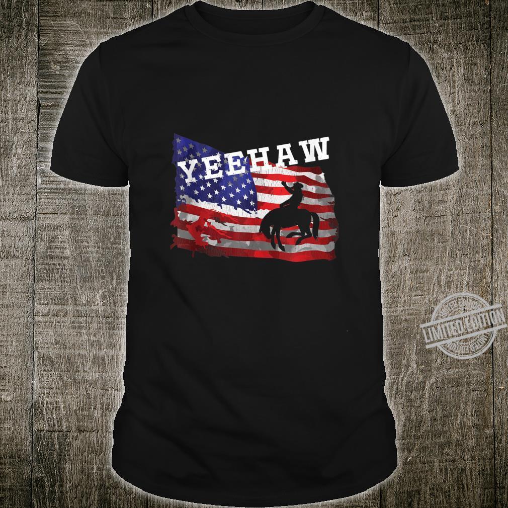 Yeehaw Retro American Flag Bronc Busting Rodeo Cowboy Shirt